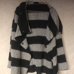 Cynthia Rowley Black and Grey Stripped Sweater